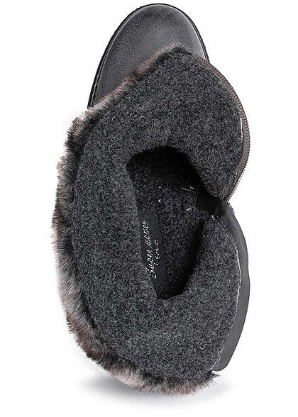 Seventyseven Lifestyle Damen Schuh Boots Stiefelette Deko Schnalle Kunstfell medium grau