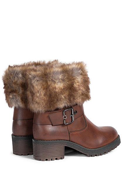 Seventyseven Lifestyle Damen Schuh Boots Stiefelette Deko Schnalle Kunstfell lt. braun