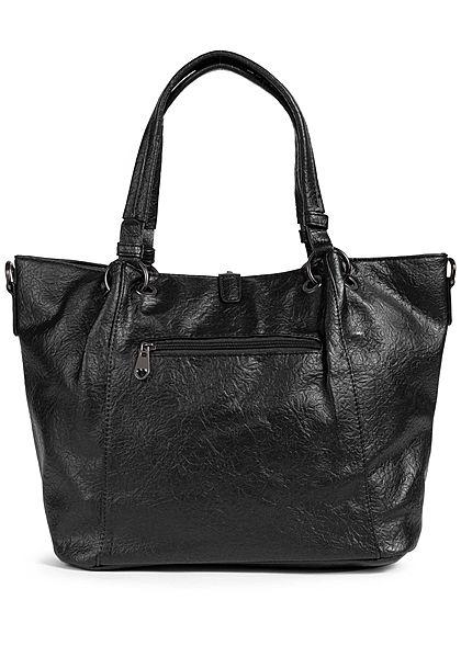 Styleboom Fashion Damen Kunstleder Handtasche Knitter Optik 44x25cm schwarz