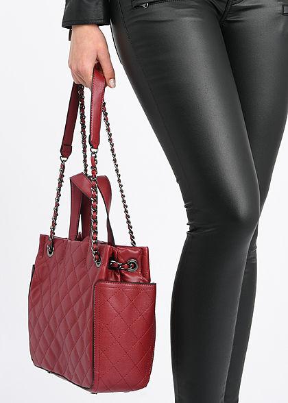 Styleboom Fashion Damen Kunstleder Handtasche Quilt Optik 28x25cm dunkel rot