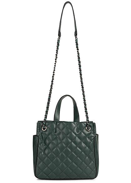 Styleboom Fashion Damen Kunstleder Handtasche Quilt Optik 28x25cm dunkel grün