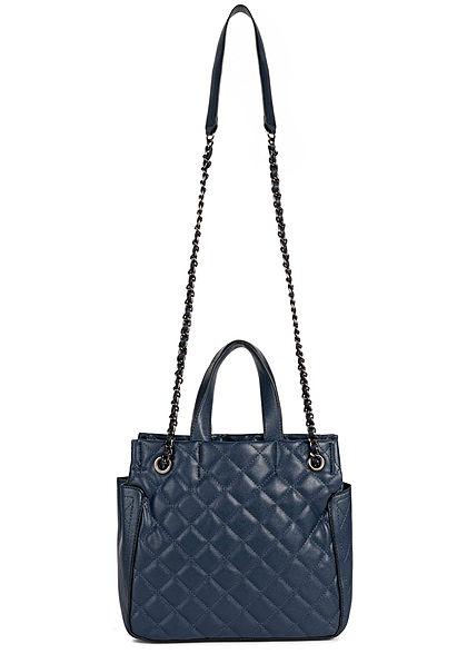 Styleboom Fashion Damen Kunstleder Handtasche Quilt Optik 28x25cm dunkel blau