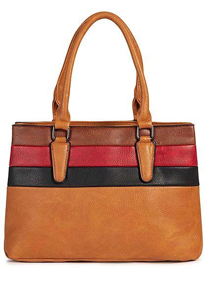 Styleboom Fashion Damen Colorblock Handtasche 38x23cm Kunstleder camel braun