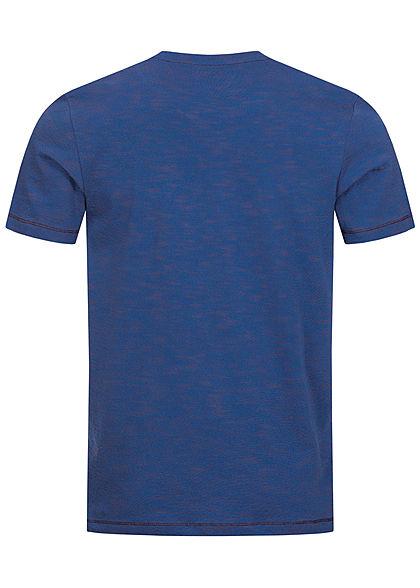TOM TAILOR Herren T-Shirt Logo Print & Streifen Muster dunkel blau orange