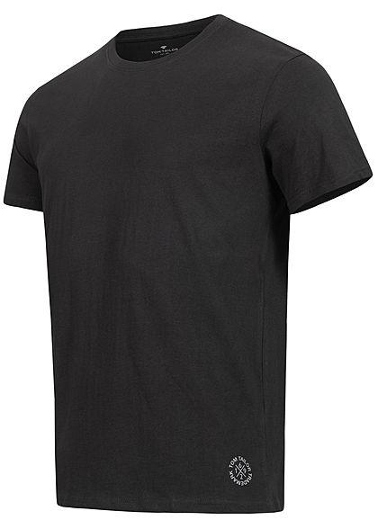 Tom Tailor Herren 2er-Set Basic Crew-Neck T-Shirt schwarz