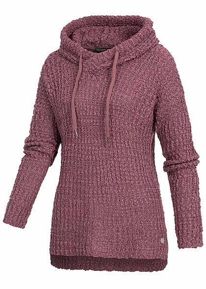 Eight2Nine Damen Grobstrick Hoodie überlappende Kapuze purplish medium lila