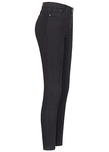 Hailys Damen High-Waist Skinny Jeans Hose 4er Knopfleiste 5-Pockets schwarz denim