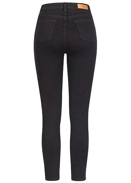 Hailys Damen High-Waist Skinny Jeans Hose Knopfleiste 5-Pockets schwarz denim
