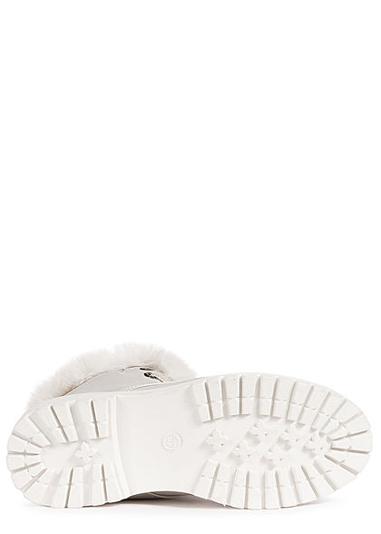 Hailys Damen Schuh Worker Boots Stiefelette mit Plüsch Kunstleder hell grau