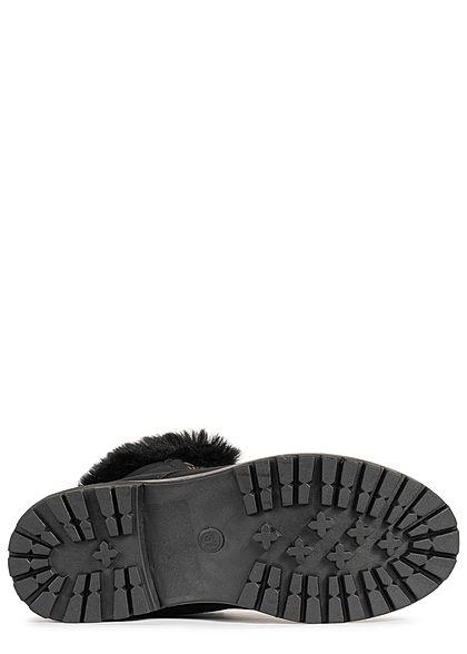 Hailys Damen Schuh Worker Boots Stiefelette mit Plüsch Kunstleder schwarz