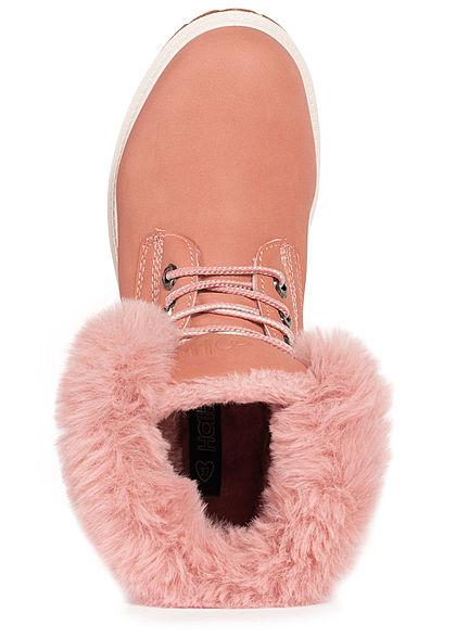 Hailys Damen Schuh Worker Boots Stiefelette mit Plüsch Kunstleder rosa