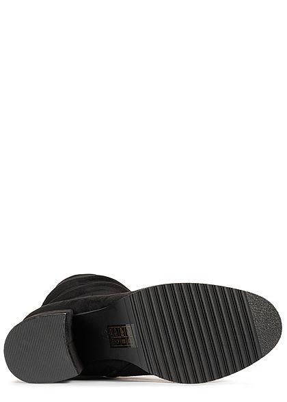 Seventyseven Lifestyle Damen Schuh Kunstleder Halbstiefel Blockabsatz 7cm schwarz