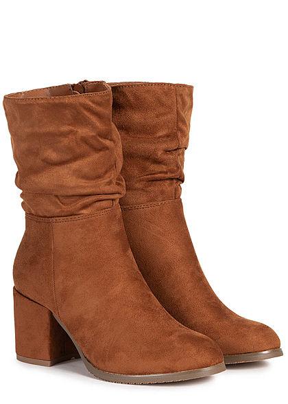 Seventyseven Lifestyle Damen Schuh Kunstleder Halbstiefel Blockabsatz 7cm camel braun