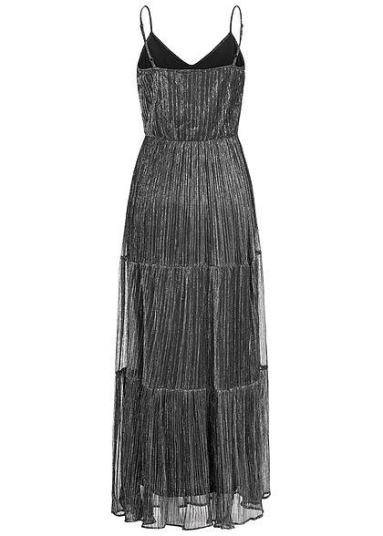 ONLY Damen V-Neck Lurex Maxi Kleid 2-lagig silber schwarz