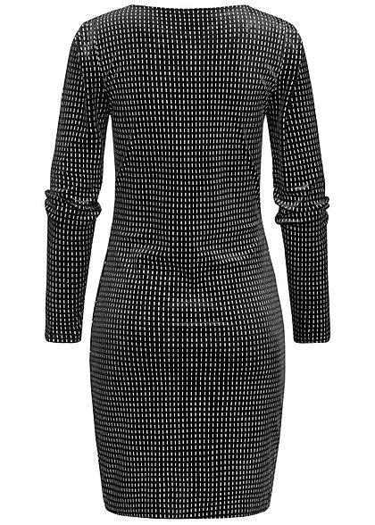 ONLY Damen V-Neck Bodycon Glitzer Kleid schwarz silber