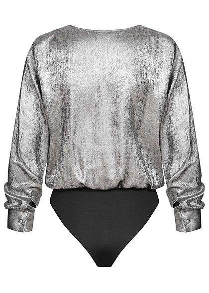 ONLY Damen 2-Tone V-Neck Body tiefer Ausschnitt Wickel-Optik silber schwarz