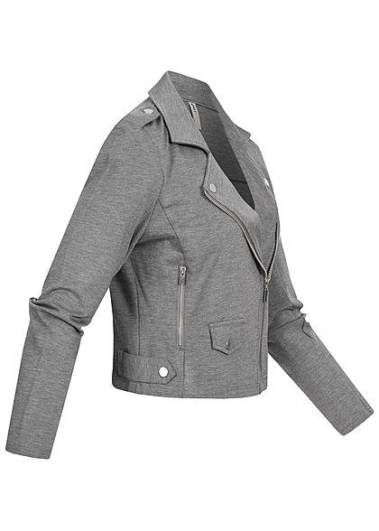 ONLY Damen Biker Poptrash Kurz Jacke 2 Deko Zipper medium grau melange