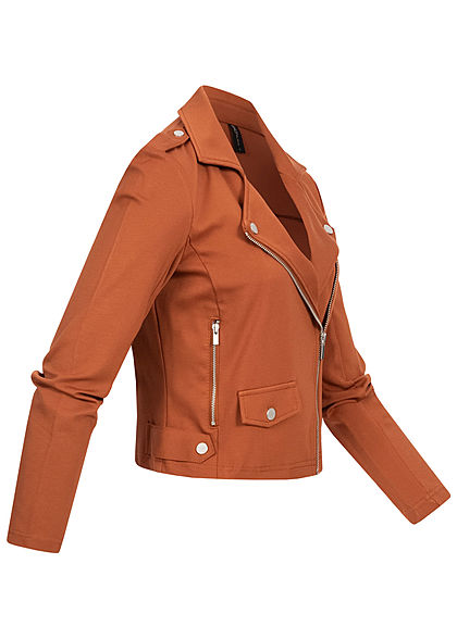 ONLY Damen Biker Poptrash Kurz Jacke 2 Deko Zipper ginger bread braun