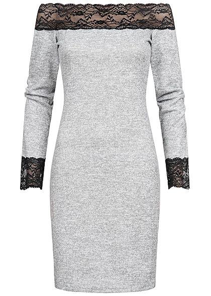 Styleboom Fashion Damen Off-Shoulder Melange Kleid Spitze hell grau schwarz