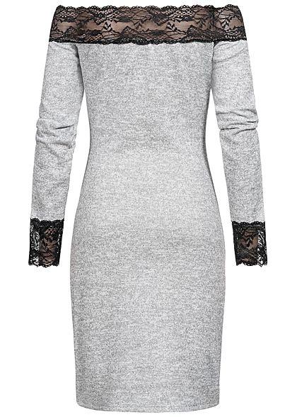 styleboom fashion damen off-shoulder melange kleid spitze