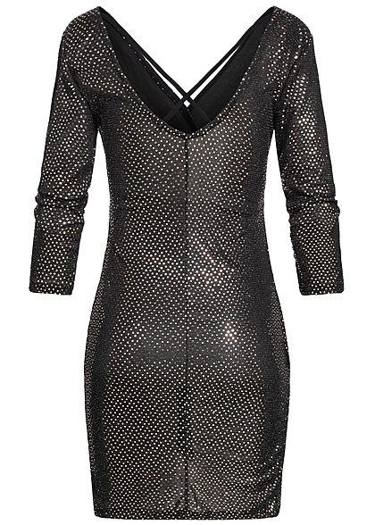 Hailys Damen V-Neck Kleid Wickel-Optik Punkte Muster schwarz kupfer