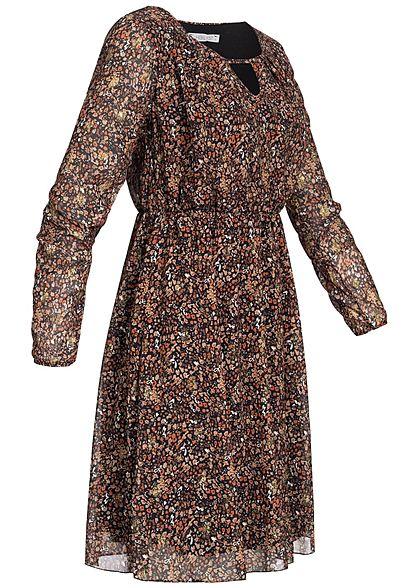 Hailys Damen Chiffon Kleid Herbst Print Glitzer Detail 2-lagig schwarz braun gold