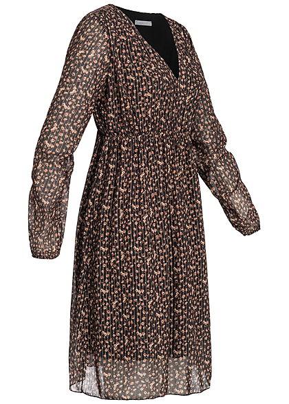 Hailys Damen Chiffon Kleid Blumen Print Glitzer Streifen 2-lagig schwarz braun gold