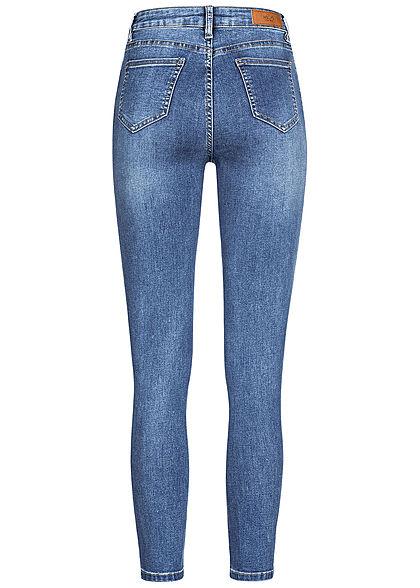 Hailys Damen High-Waist Skinny Jeans Hose Knopfleiste 5-Pockets medium blau denim