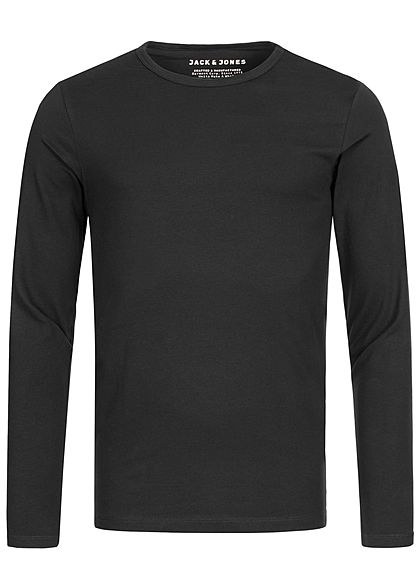 Jack and Jones Herren NOOS Basic O-Neck Longsleeve schwarz