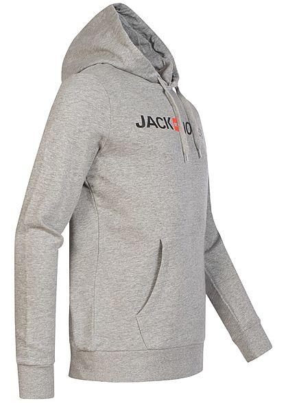 Jack and Jones Herren NOOS Sweat Hoodie Kapuze Old Logo Print Kängurutasche hell grau