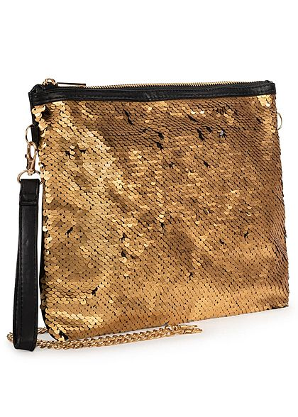 Eight2Nine Damen Handtasche Wendepailletten Zipper gold schwarz