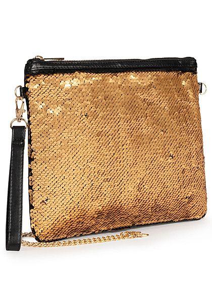 Eight2Nine Damen Handtasche Wendepailletten Zipper schwarz gold