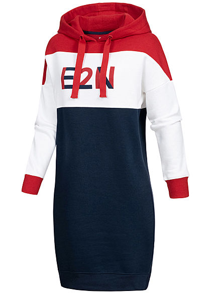 Eight2Nine Damen Colorblock Hoodie Kleid E2N Logo Print Kapuze Stormy blau rot weiss