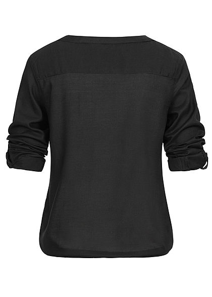Eight2Nine Damen Turn-Up V-Neck Bluse Knopfleiste schwarz