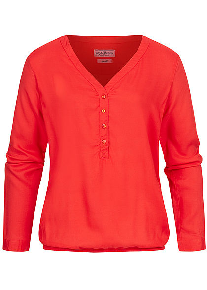 Eight2Nine Damen Turn-Up V-Neck Bluse Knopfleiste flame coral rot