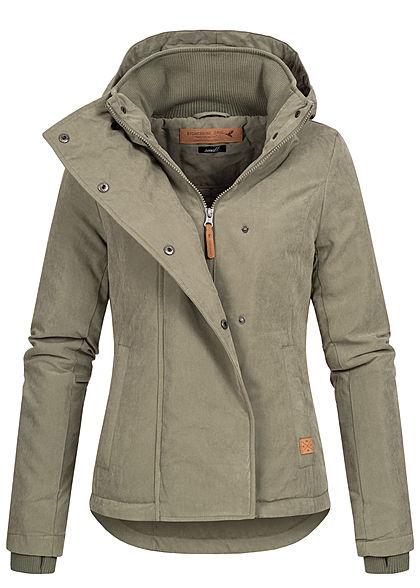 Eight2Nine Damen Winter Jacke abnehmb. Kapuze 2 Pockets Daumenloch olive grün