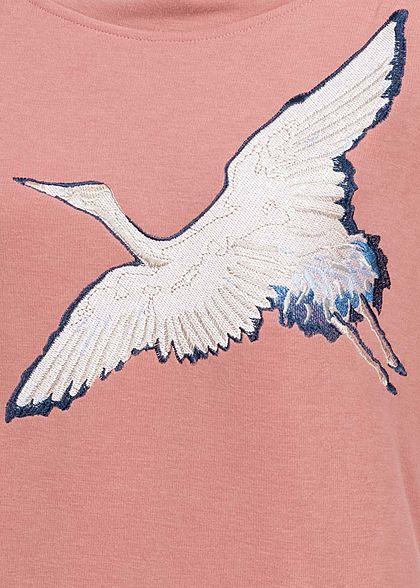 Rock Angel Damen Sweat Hoodie Kapuze 2-Pockets Vogel Patch ash rosa