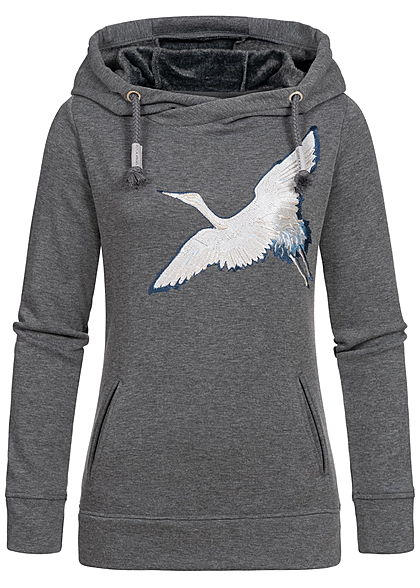 Rock Angel Damen Sweat Hoodie Kapuze 2-Pockets Vogel Patch dunkel grau melange