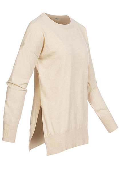 Fresh Made Damen Oversized Melange Sweater Schlitze seitl nude beige melange