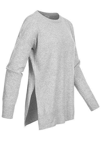 Fresh Made Damen Oversized Melange Sweater Schlitze seitl hell grau melange