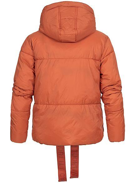 Stitch and Soul Damen Oversize Steppjacke abnehmb. Kapuze 2-Pockets burnt brick orange