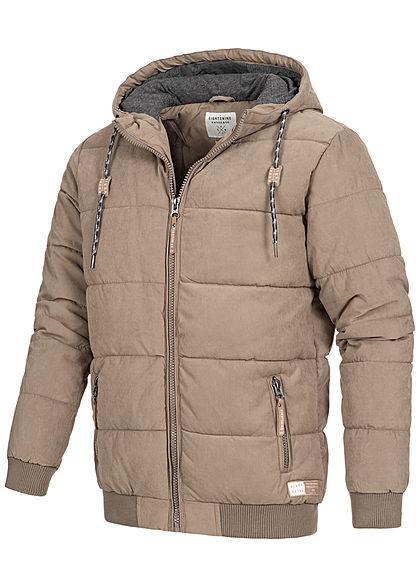 Eight2Nine Herren Winter Steppjacke Kapuze 2-Pockets Velour-Optik walnuss braun
