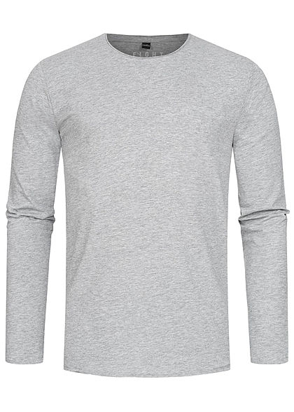 Eight2Nine Herren Longsleeve offene Kanten medium grau
