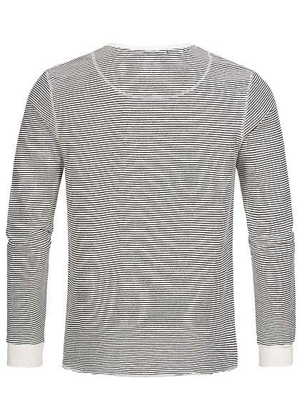 Eight2Nine Herren leichter Sweater Streifen Muster Knopfleiste off weiss schwarz