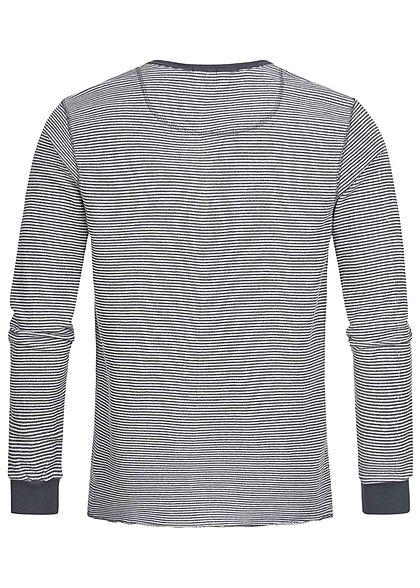 Eight2Nine Herren leichter Sweater Streifen Muster Knopfleiste schwarz blau weiss