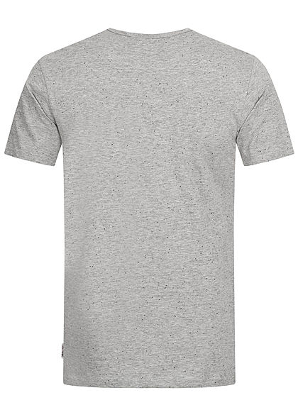 Eight2Nine Herren T-Shirt Logo Print mit Punkten medium grau melange