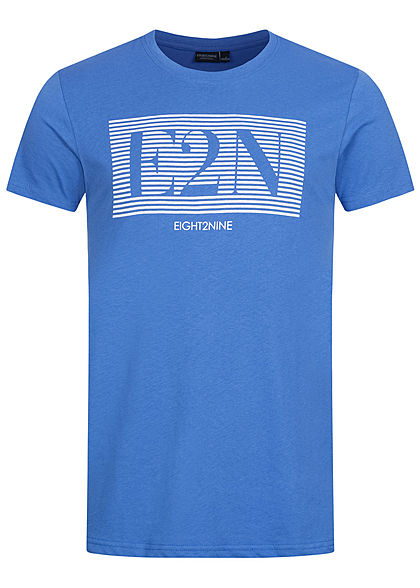 Eight2Nine Herren T-Shirt Logo Print soft ink blau weiss