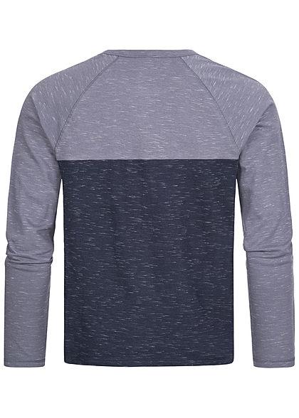 Urban Surface Herren 2-Tone Vintage Longsleeve Brusttasche navy blau melange