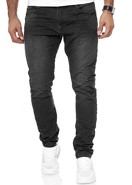 Urban Surface Herren Vintage Skinny Sweat Jeans Hose 5 Pockets washed schwarz denim