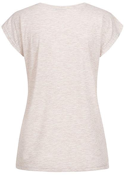Hailys Damen T-Shirt AMAZING Pailletten Leo Print beige